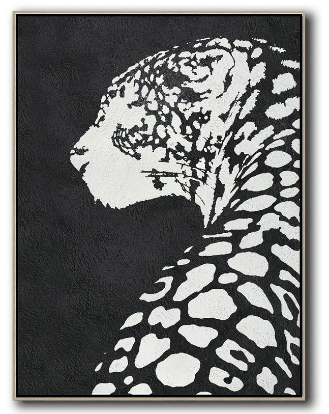 Black And White Minimal Painting On Canvas,Original Art #A5D8