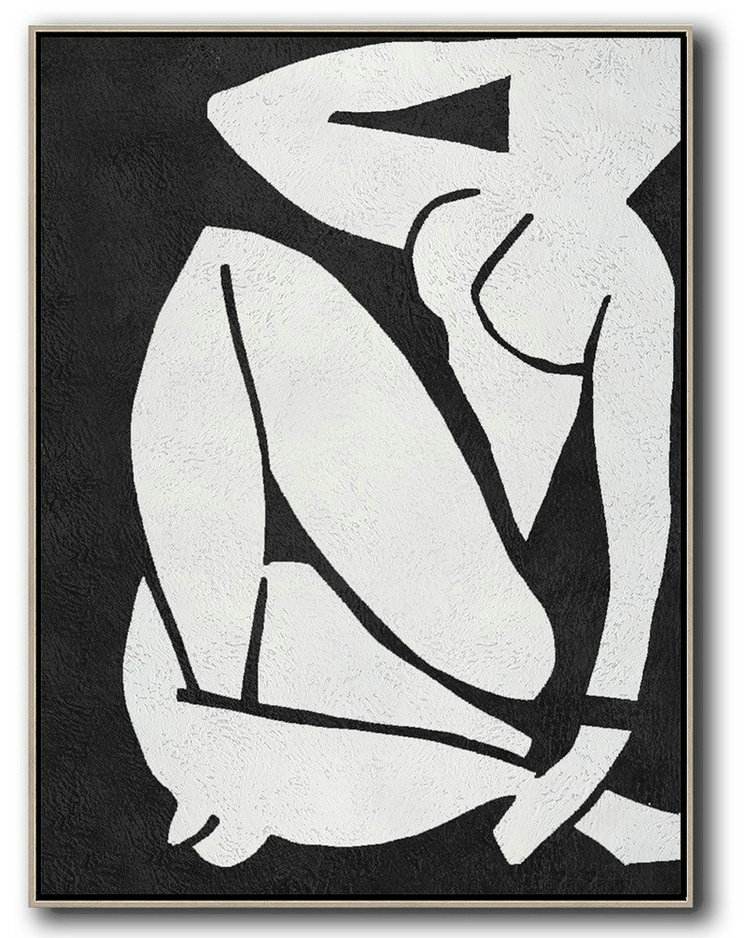 Black And White Minimal Painting On Canvas,Big Canvas Painting #L6C8