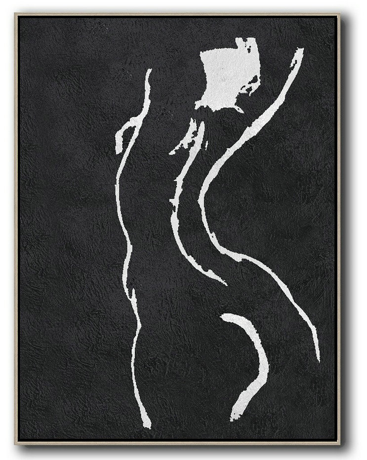 Black And White Minimal Painting On Canvas,Large Oil Canvas Art #J3V0