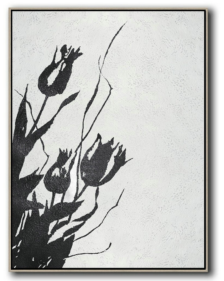 Black And White Minimal Painting On Canvas Original Abstract