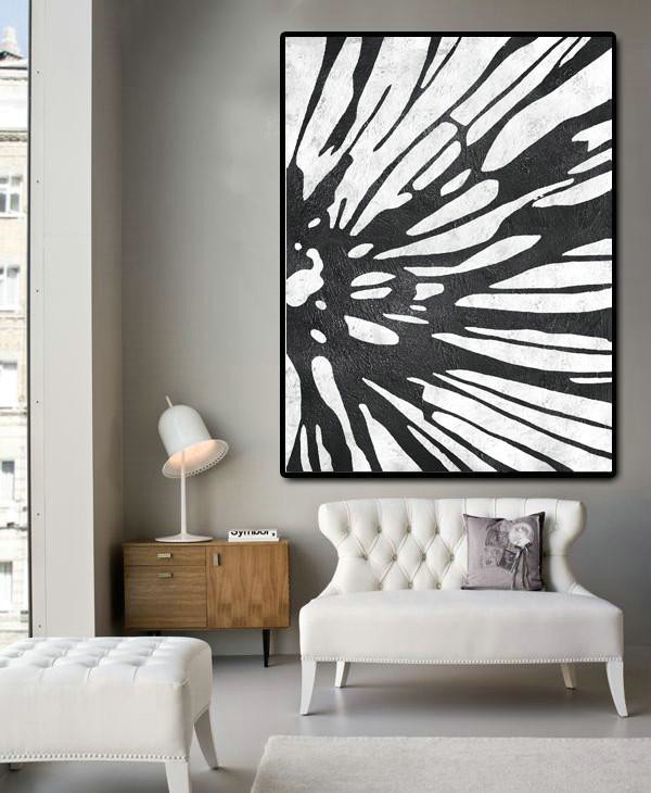 Black And White Minimal Painting On Canvas,Modern Painting Abstract #R9T0