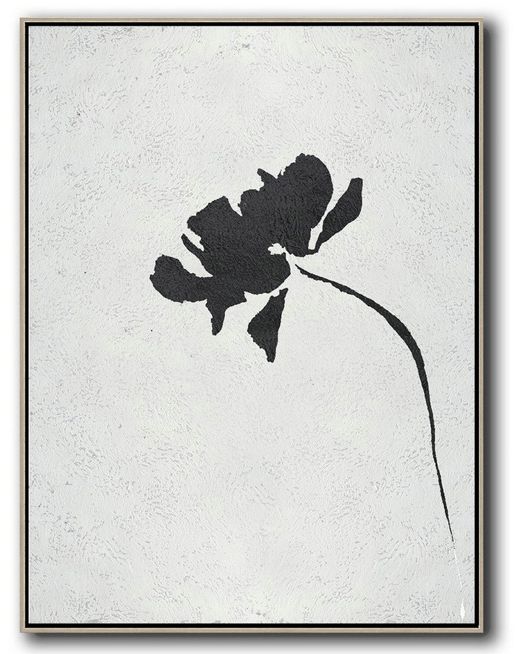 Black And White Minimal Painting On Canvas,Large Wall Art Canvas #F2O7