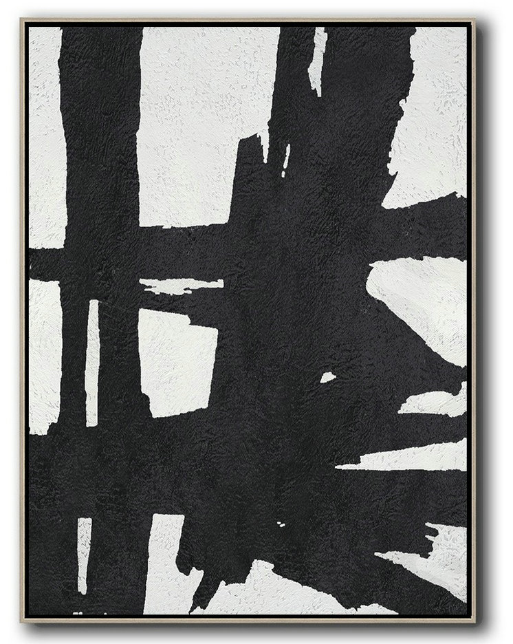 Black And White Minimal Painting On Canvas,Lounge Room Decor #E3I4