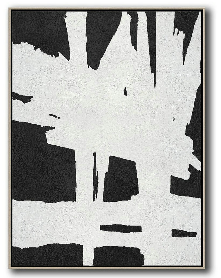 Black And White Minimal Painting On Canvas,Canvas Artwork For Living Room #U5Q2