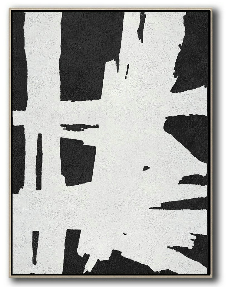 Black And White Minimal Painting On Canvas,Modern Art #F0S1