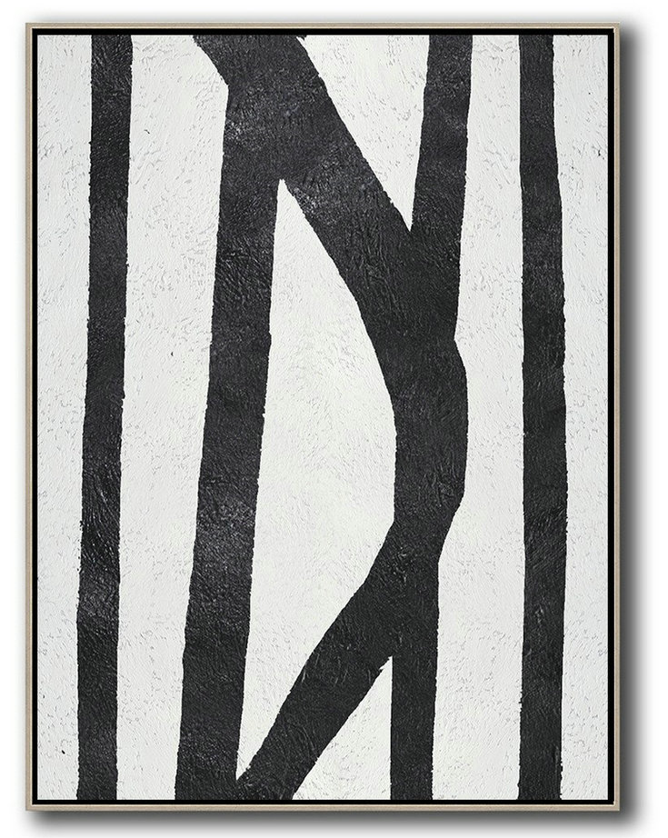 Black And White Minimal Painting On Canvas,Home Canvas Wall Art #U6E1