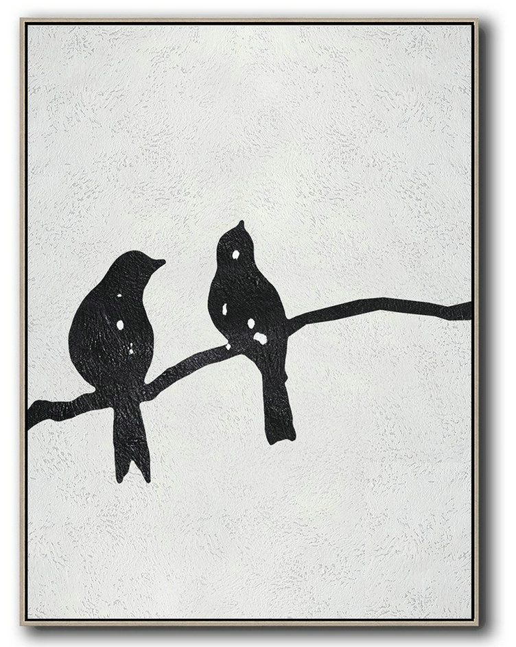 Black And White Minimal Painting On Canvas,Modern Paintings #B7N1