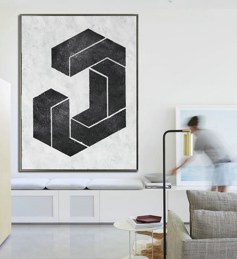 Black And White Minimal Painting On Canvas,Hand Paint Large Art #Z1Y1