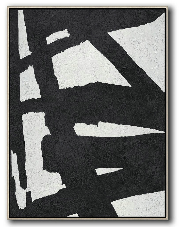 Black And White Minimal Painting On Canvas,Big Living Room Decor #V7K3