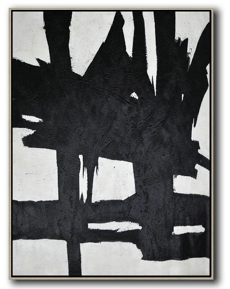 Black And White Minimal Painting On Canvas,Large Abstract Wall Art #W3Z4