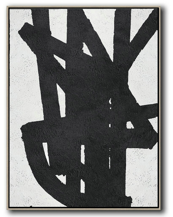 Black And White Minimal Painting On Canvas,Giant Wall Decor #F8W7