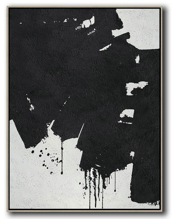 Black And White Minimal Painting On Canvas,Contemporary Abstract Painting #Z8W4