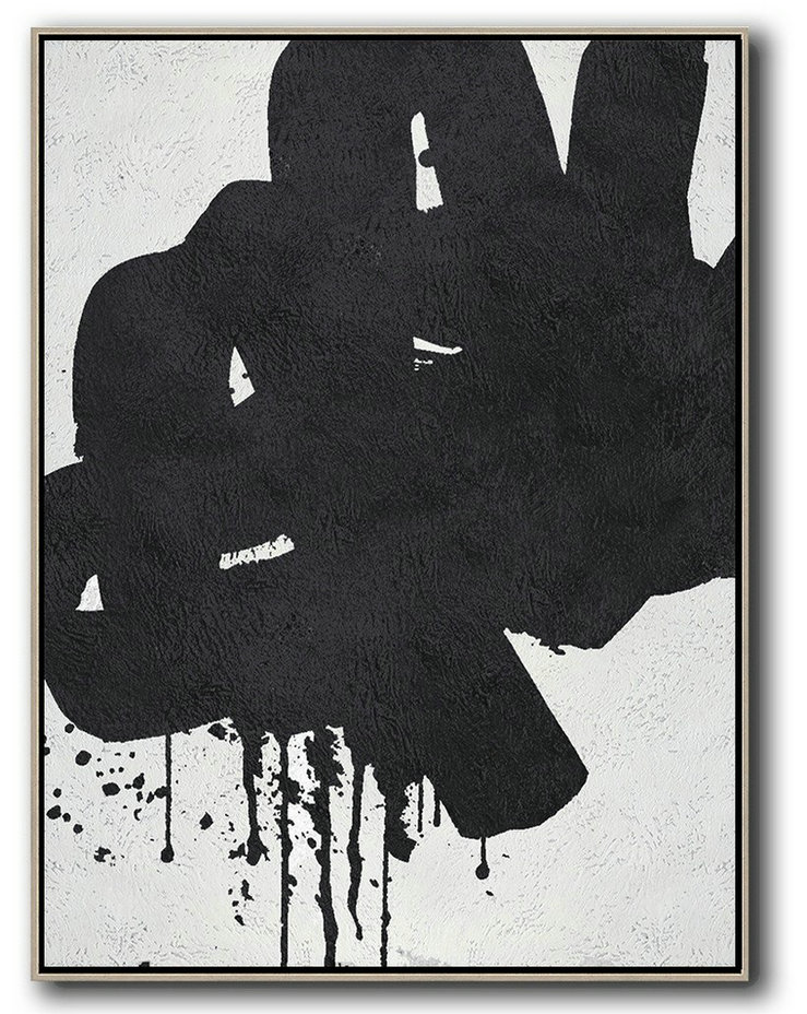 Black And White Minimal Painting On Canvas,Original Abstract Art Paintings #H8S3