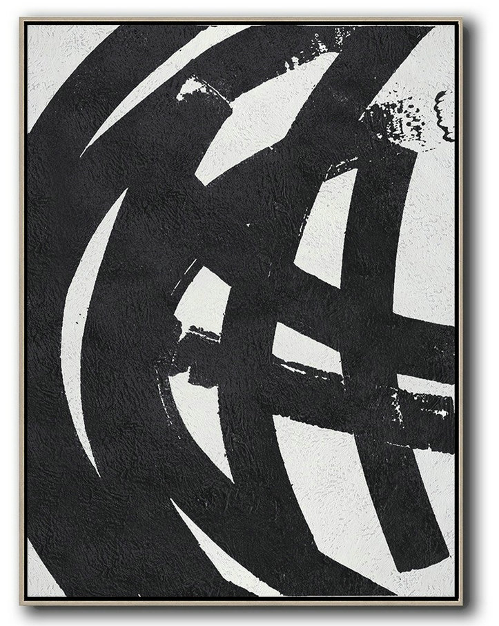 Black And White Minimal Painting On Canvas,Acrylic On Canvas Abstract #S5I6