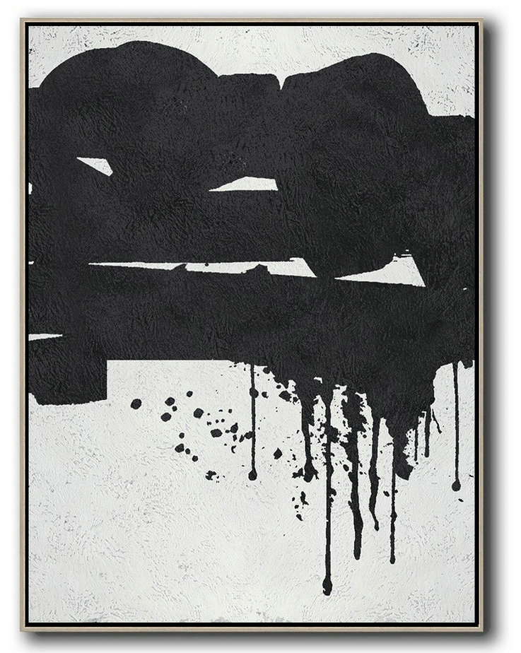 Black And White Minimal Painting On Canvas,Custom Oil Painting #T3D8