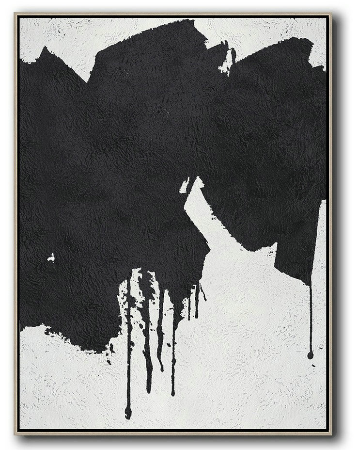 Black And White Minimal Painting On Canvas,Contemporary Canvas Paintings #A4O7