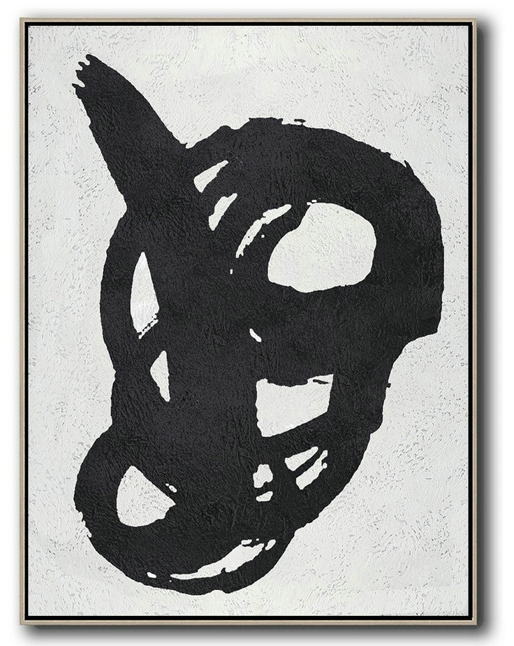 Black And White Minimal Painting On Canvas,Abstract Painting For Home #L3U7