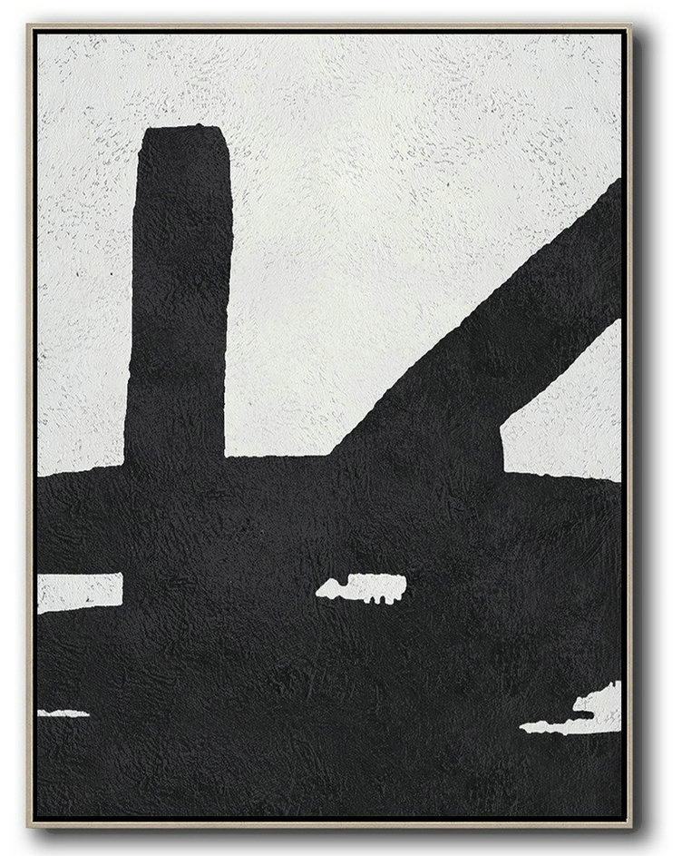 Black And White Minimal Painting On Canvas,Abstract Paintings On Sale #K3H1