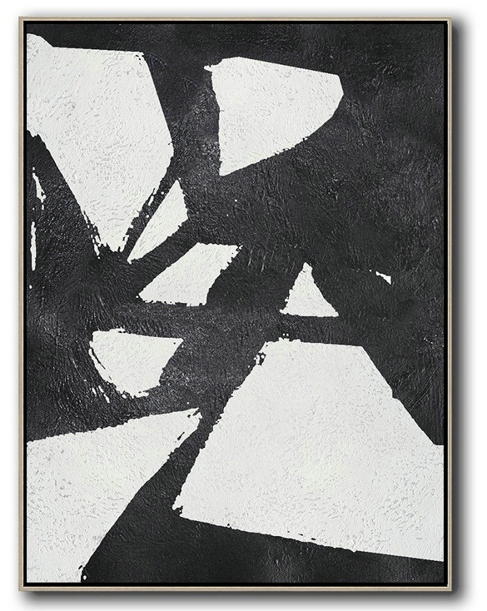 Black And White Minimal Painting On Canvas,Original Abstract Oil Paintings #W7Z9