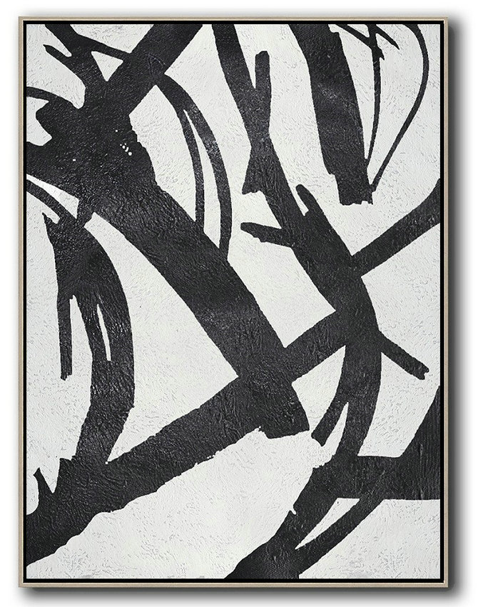 Black And White Minimal Painting On Canvas,Large Living Room Decor #N6R7