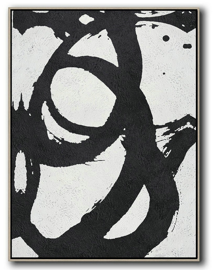 Black And White Minimal Painting On Canvas,Xl Large Canvas Art #X2V9