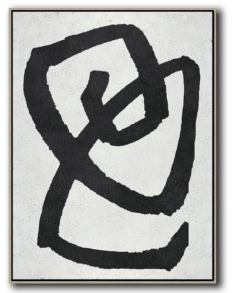 Black And White Minimal Painting On Canvas,Acrylic Painting Canvas Art #O0X8