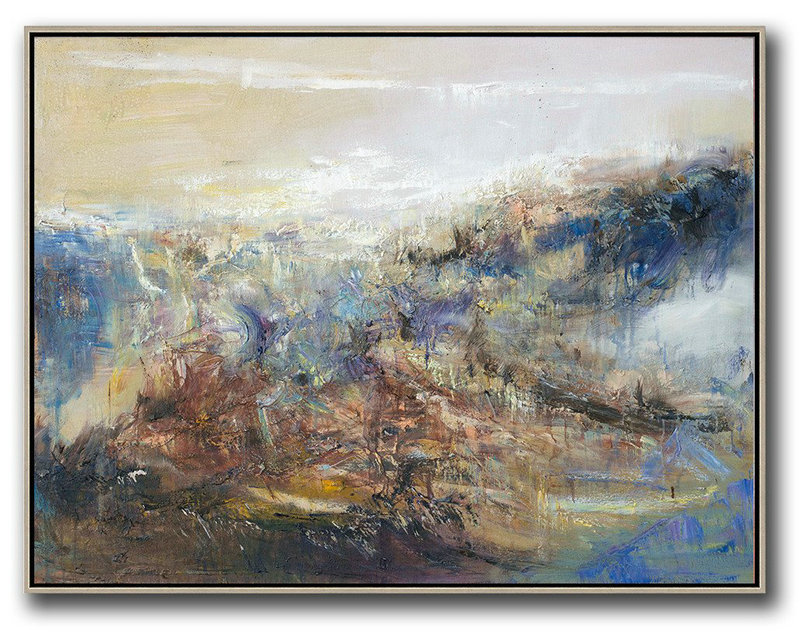 Abstract Landscape Oil Painting,Large Contemporary Art Canvas Painting Light Yellow,Brown,Blue,White