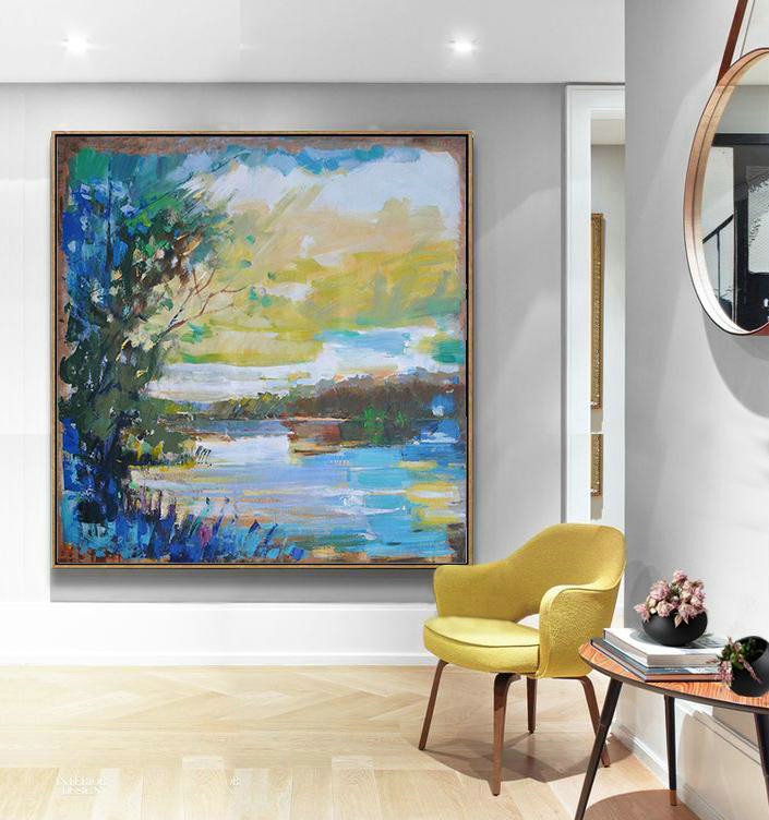 Abstract Landscape Oil Painting,Hand Painted Acrylic Painting Yellow,White,Dark Green,Blue