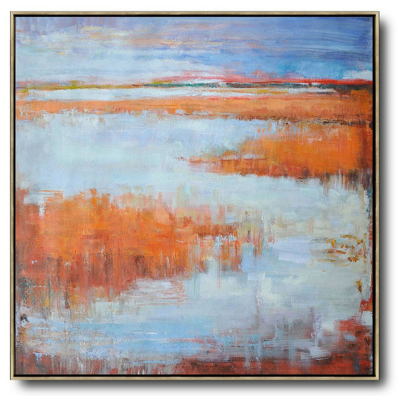 Abstract Landscape Oil Painting,Handmade Acrylic Painting Blue,Orange,Purple Grey,Red
