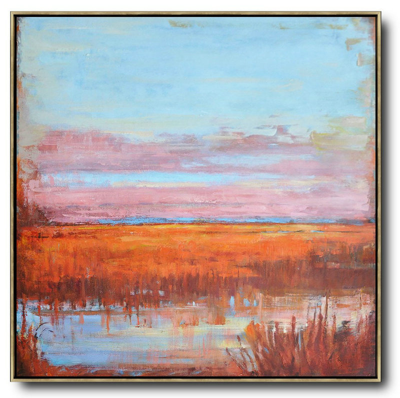 Abstract Landscape Oil Painting,Acrylic Minimailist Painting Blue,Pink,Orange,Red