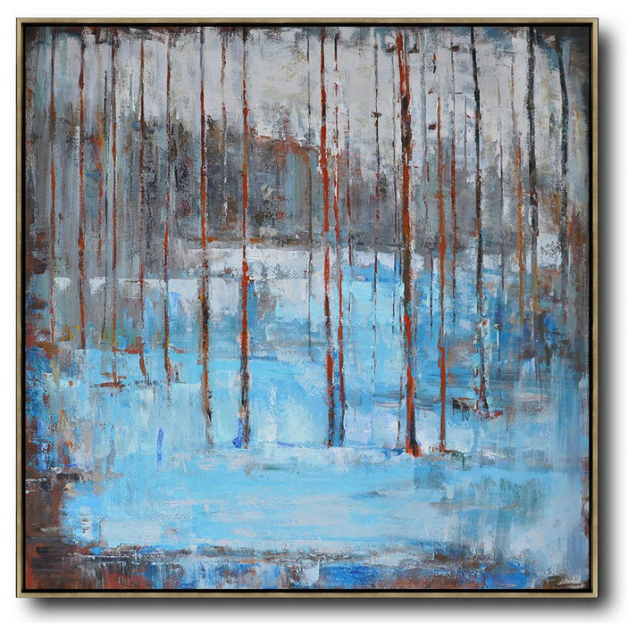 Abstract Landscape Oil Painting,Hand Paint Large Art Blue,Grey,Red,White