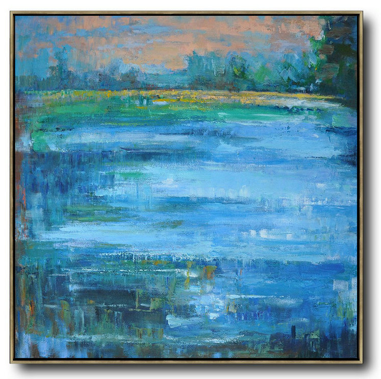 Abstract Landscape Oil Painting,Custom Canvas Wall Art Earthy Yellow ,Blue,Green