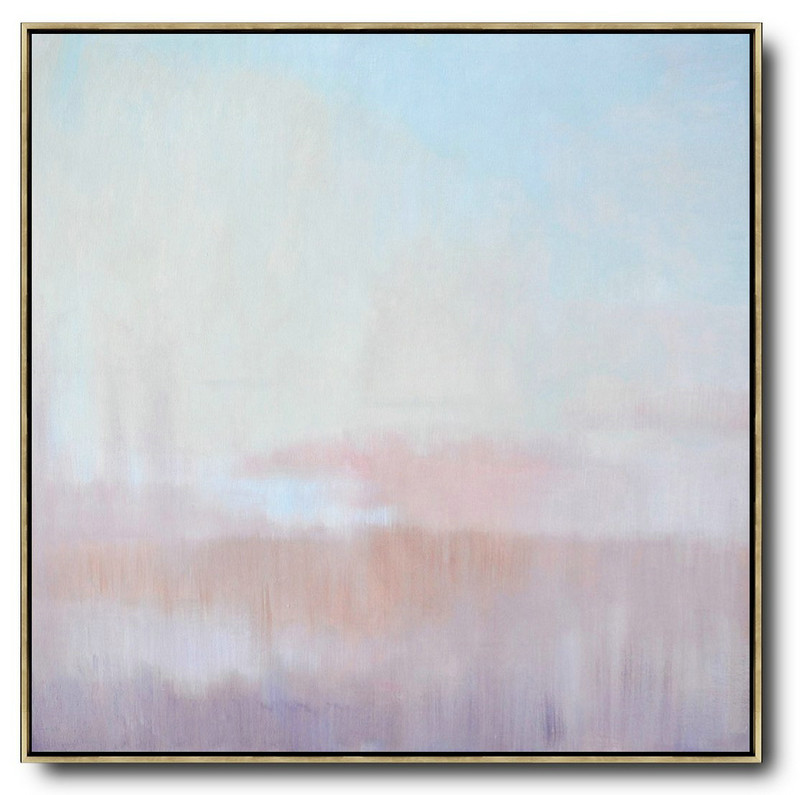 Abstract Landscape Oil Painting,Large Colorful Wall Art Sky Blue,Pink,Light Yellow
