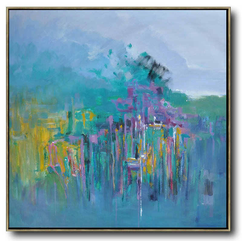 Abstract Landscape Oil Painting,Oversized Canvas Art Purple Grey,Lake Blue,Purple,Yellow