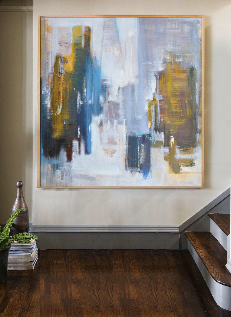 Abstract Landscape Oil Painting,Large Contemporary Painting White,Purple Grey,Yellow,Blue