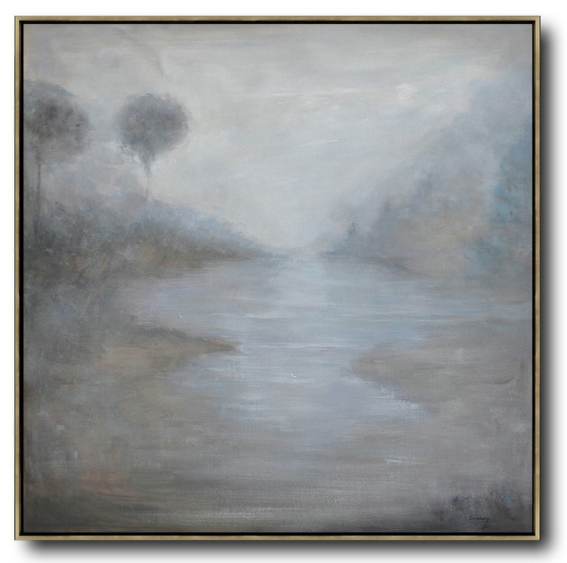 Abstract Landscape Oil Painting,Modern Wall Art Grey,White,Black