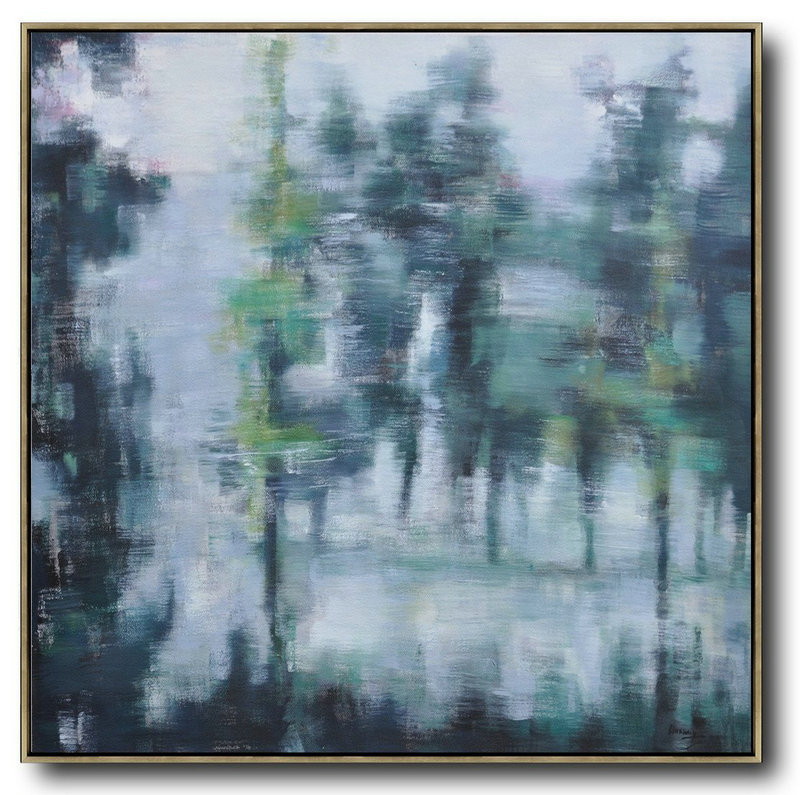 Abstract Landscape Oil Painting,Abstract Painting Modern Art White,Grey,Dark Green