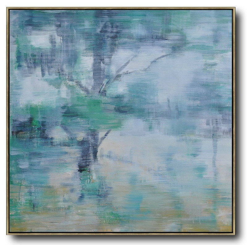 Abstract Landscape Oil Painting,Modern Abstract Wall Art White,Grey,Green,Yellow