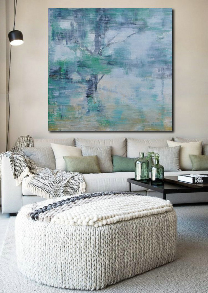 Abstract Landscape Oil Painting,Modern Abstract Wall Art White,Grey,Green,Yellow - Click Image to Close
