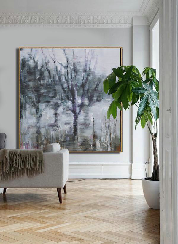 Abstract Landscape Oil Painting,Hand Painted Abstract Art White,Dark Green,Grey,Purple