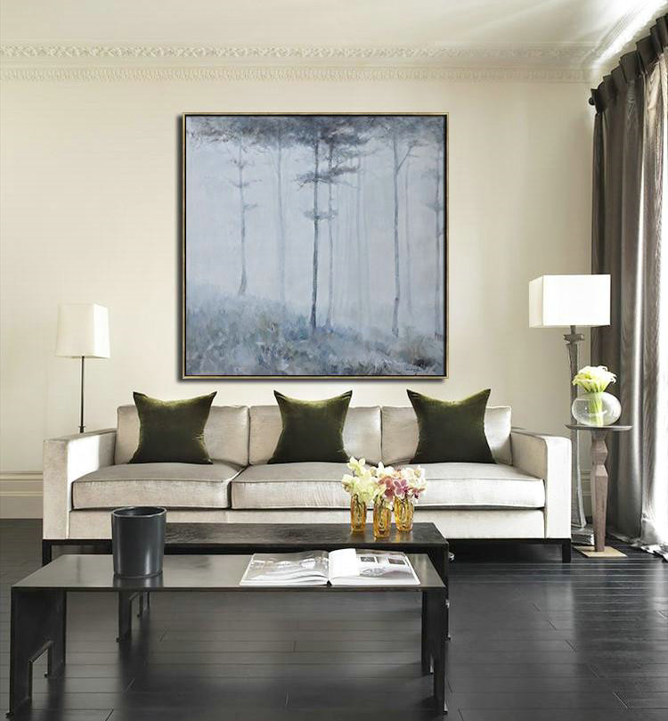 Abstract Landscape Oil Painting,Abstract Painting On Canvas White,Grey,Black - Click Image to Close