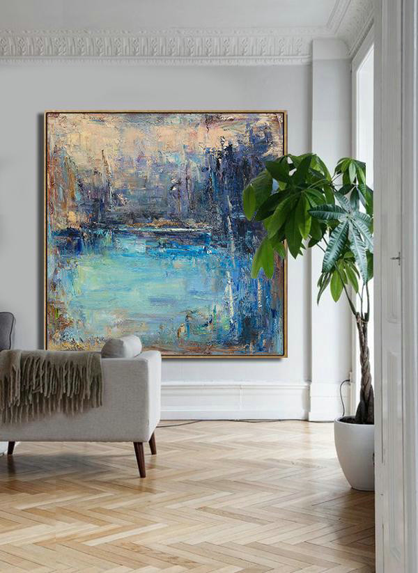 Abstract Landscape Oil Painting,Large Canvas Art Yellow.Blue,Purple