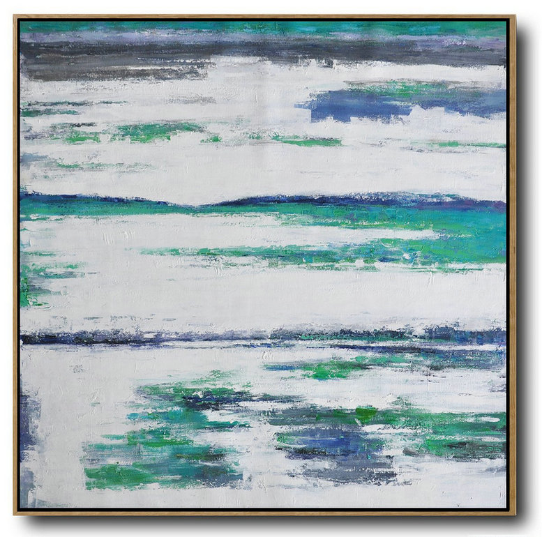 Large Abstract Landscape Oil Painting,Extra Large Paintings White,Grey,Blue,,Green