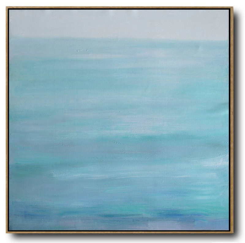Large Abstract Landscape Oil Painting,Large Paintings For Living Room Grey,Lake Blue,White