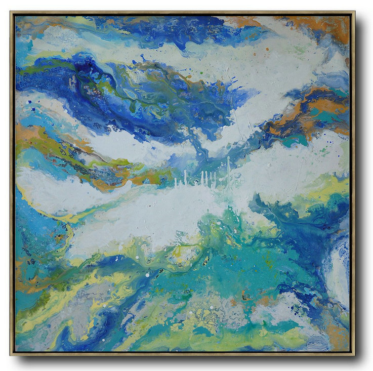Contemporary Oil Painting,Large Wall Canvas White,Orange,Blue,Lake Blue