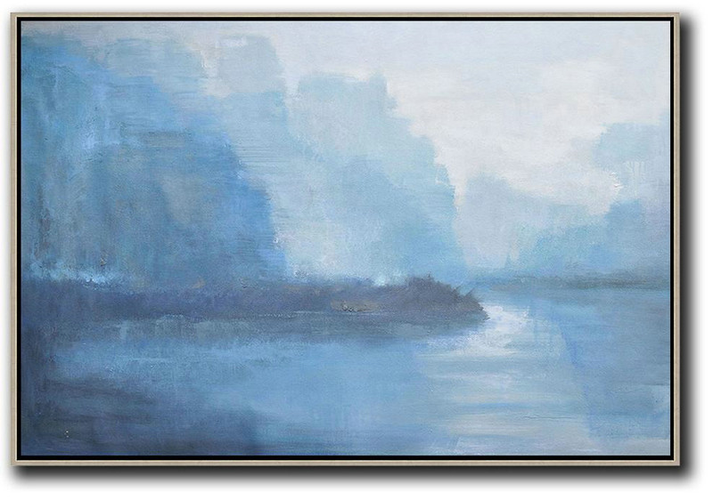 Horizontal Abstract Landscape Oil Painting,Huge Abstract Canvas Art Purple Grey,Blue,White