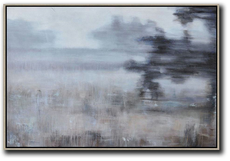 Horizontal Abstract Landscape Oil Painting,Canvas Wall Art White,Grey,Brown,Black