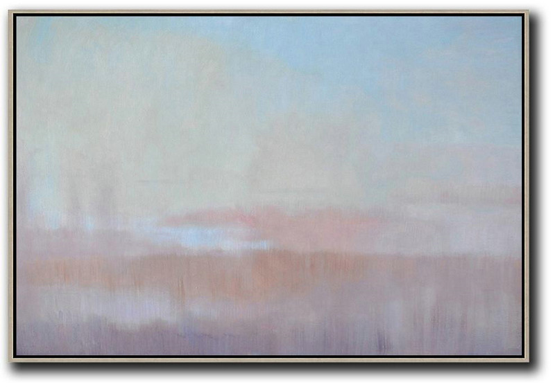 Horizontal Abstract Landscape Oil Painting,Modern Art Sky Blue,Light Yellow,Pink