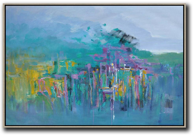 Horizontal Abstract Landscape Oil Painting,Large Abstract Wall Art Purple Grey,Green,Yellow,Purple