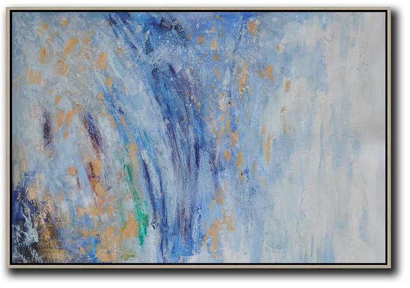 Horizontal Abstract Landscape Oil Painting,Canvas Paintings For Sale Blue,Grey,Yellow